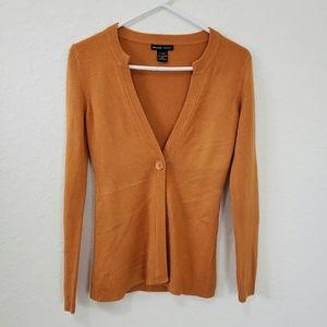 New York & Company | Orange One Button Cardigan XS